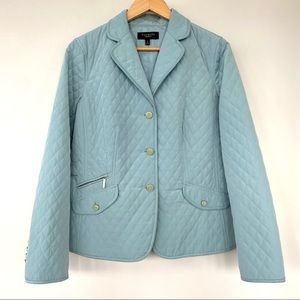 Talbots quilted spring jacket in aqua